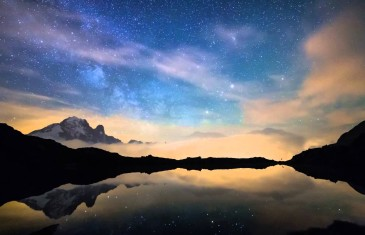 Milky way and Mont-Blanc timelapse